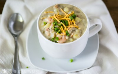 Gluten Free Potato Soup with Shrimp and Bacon