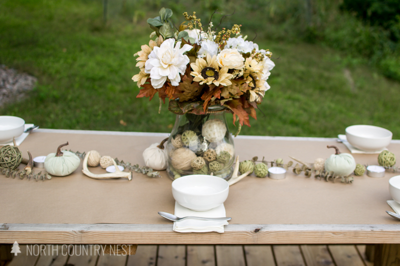 white dishes for fall table decor
