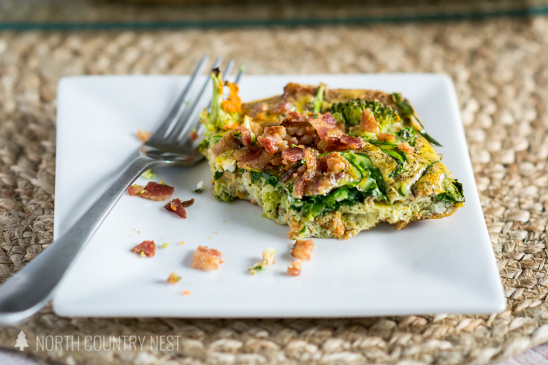 breakfast casserole on white plate