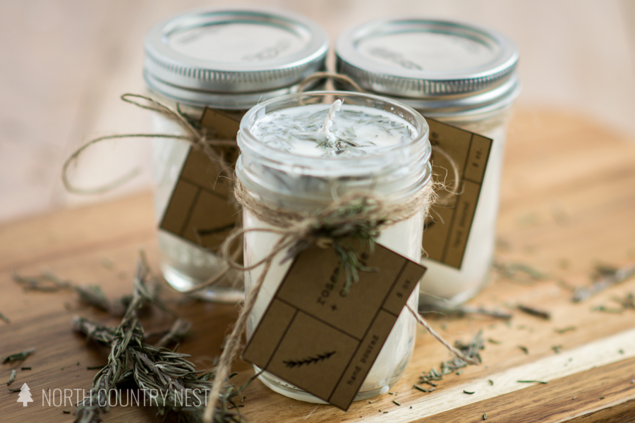 three dried rosemary essential oil candles