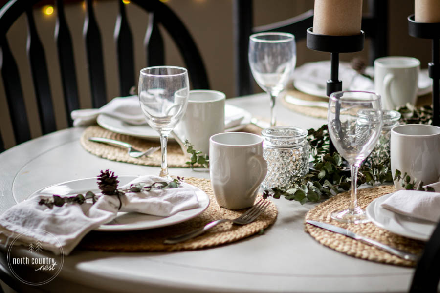 natural table setting for holiday tablescape