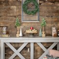 rustic holiday decor and barn wood wall