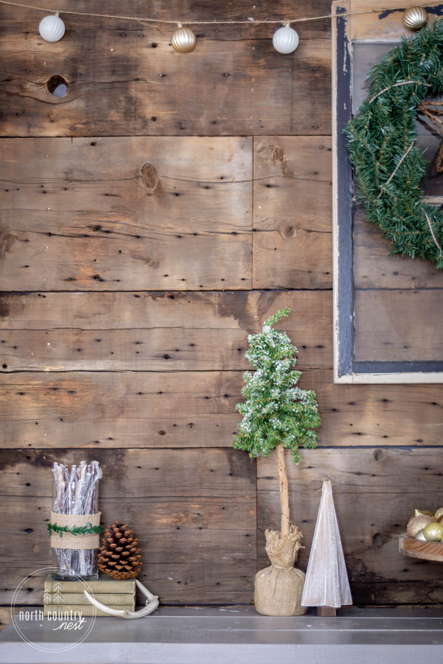 rustic entryway vignette for the holidays