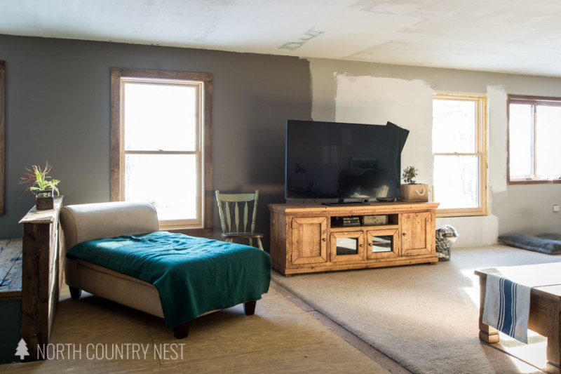 unfinished living room at north country nest