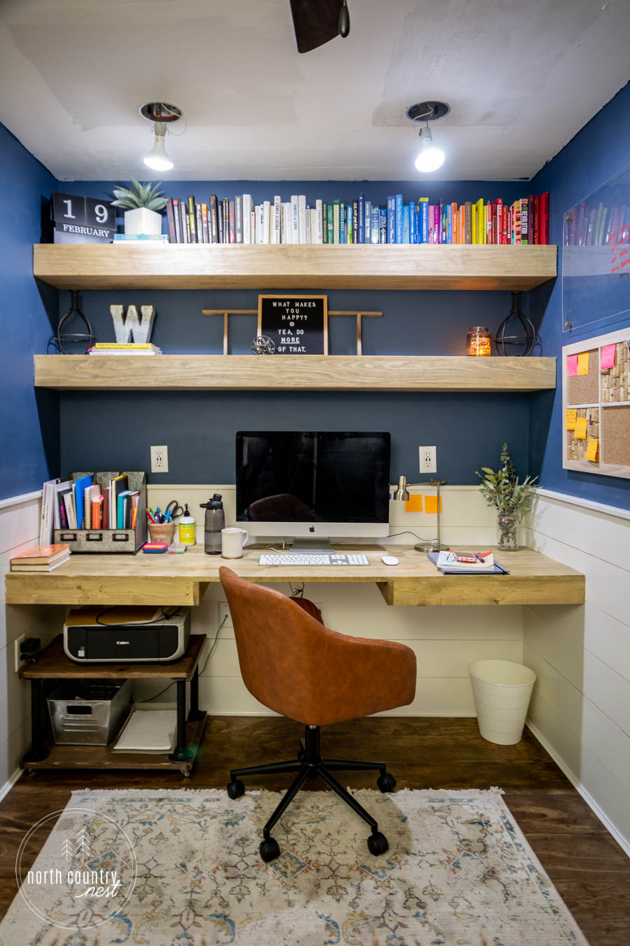home office with DIY office cork board