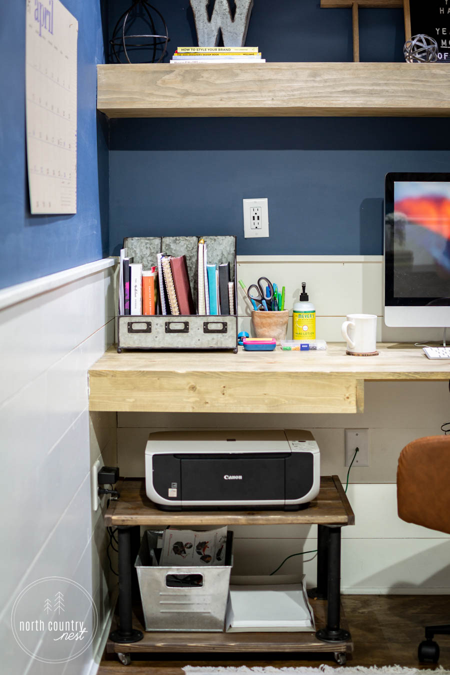 rustic home office with DIY printer cart
