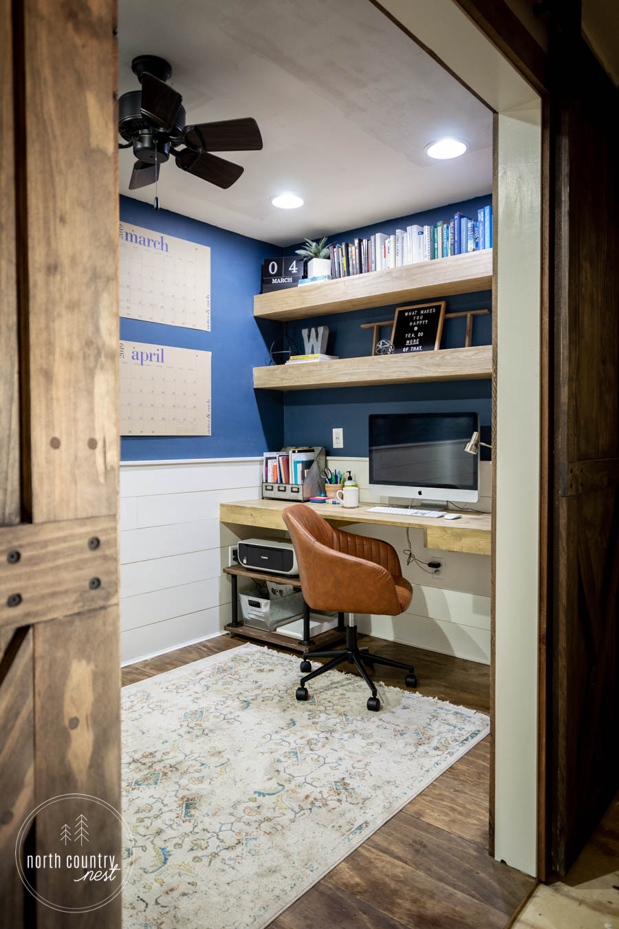 giant wall calendar in rustic home office