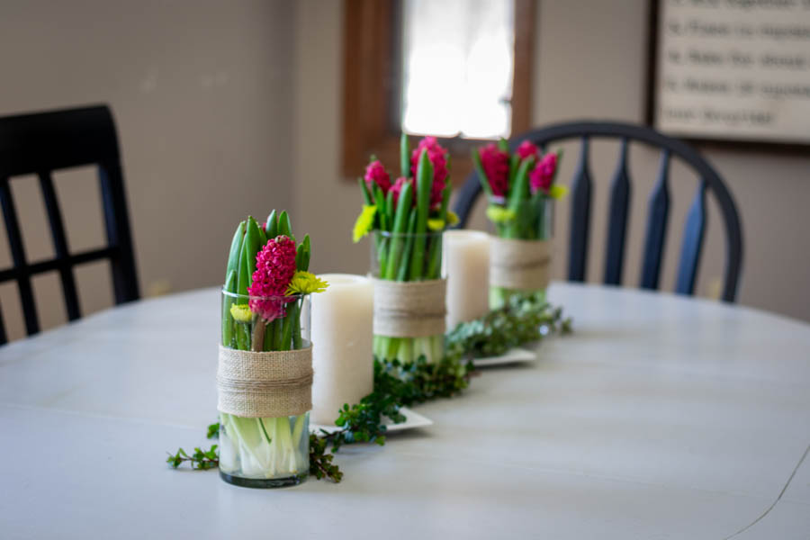 a simple spring floral centerpiece