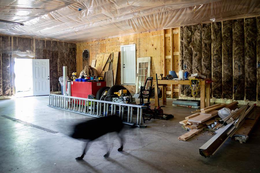 fiberglass insulation in three car garage