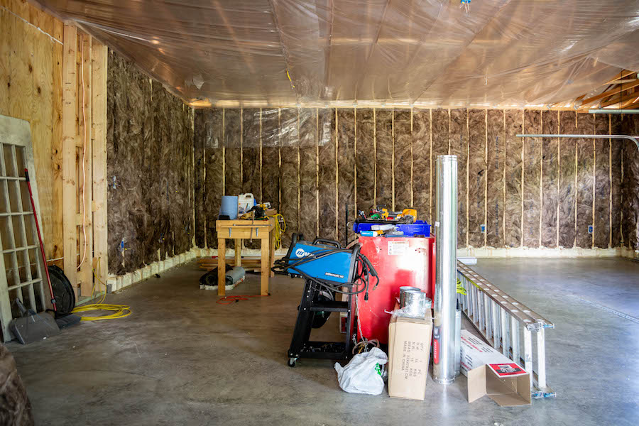 fiberglass insulation in three car garage
