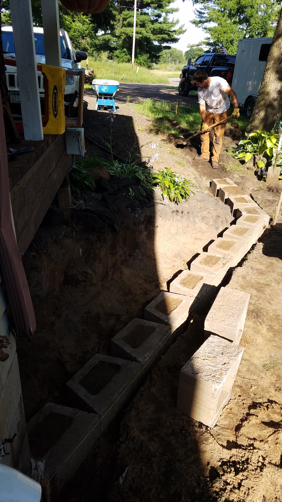 Building a new retaining wall at North Country Nest