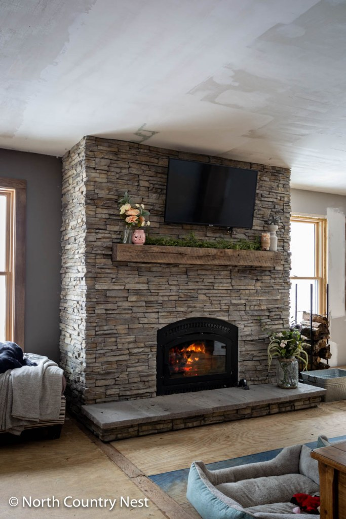 Rustic Fireplace Decorated for Spring