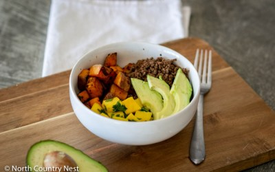 Gluten Free Sweet Potato Mango Bowl with Ground Elk