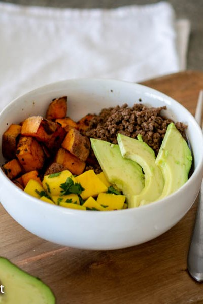 Sweet Potato Mango Salsa Bowl with Ground Elk