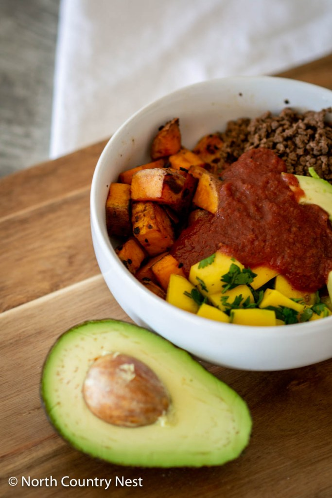 Gluten Free Sweet Potato Mango Bowl with Ground Elk | North Country Nest