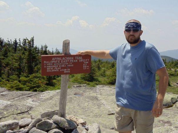 Baldpate East Peak summit sign.