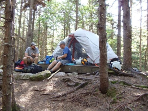 A tent platform on Goose Eye Mountain.