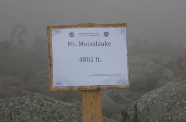 Temp Moosilauke Summit Sign