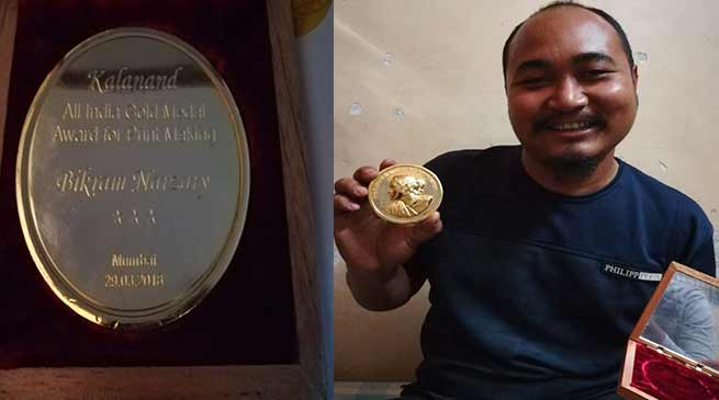 Assam Artist Bikarn Narzary receives Award for Print Making