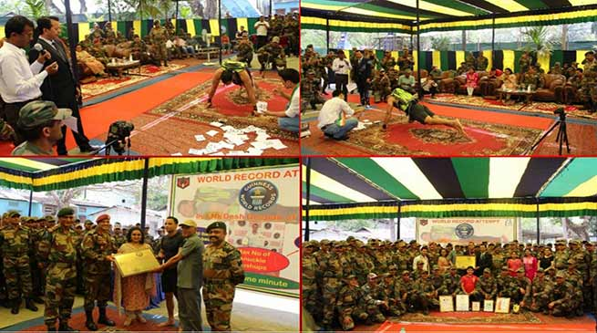 Assam: Army Jawan Desh Deepak sets Guinnes Book Record by doing the Maximum number of Knuckle Pushups