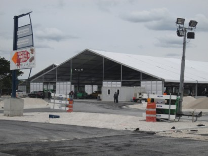 Construction of the Miami International Boat Show is underway at its new location at the Miami Marine Stadium Park and Basin.