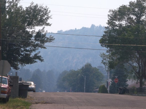 Smoke from the Doce fire covers Williams and Bill Williams mountain.
