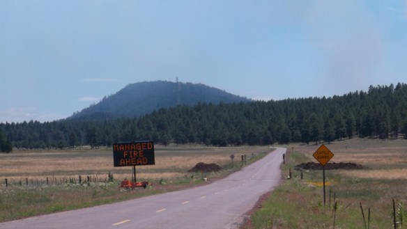 Smoke from Spring fire visible from Williams, but County 73 currently unaffected.