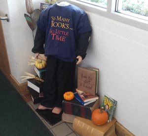 This scarecrow at the Williams Library a bigger problem than too little time. How about too little eyes?