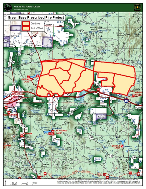 Map showing location of the Green Base Prescribed Fire Project on the Williams Ranger District, which is broken into two smaller units – Parks West and Dry Lake. - Kaibab Forest Service photo.