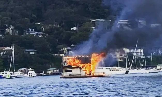 Luxury houseboat destroyed