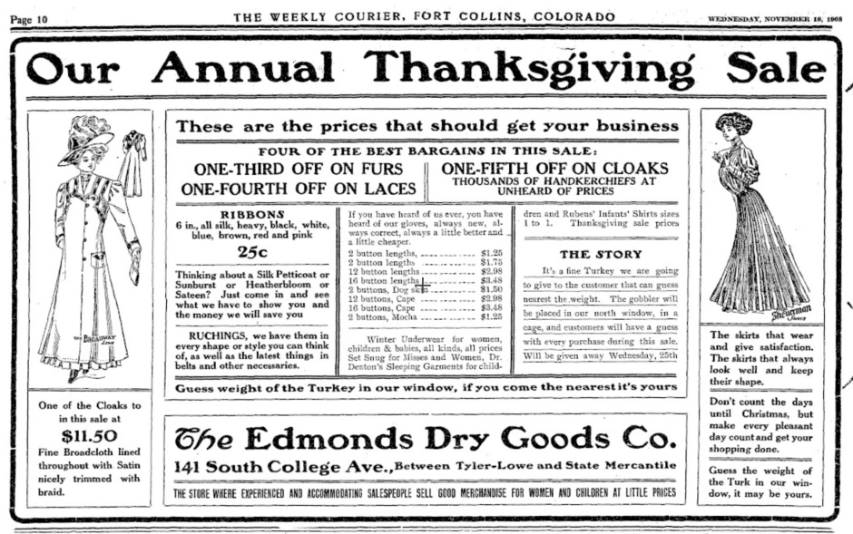 Happy Thanksgiving, Fort Collins of 1908!