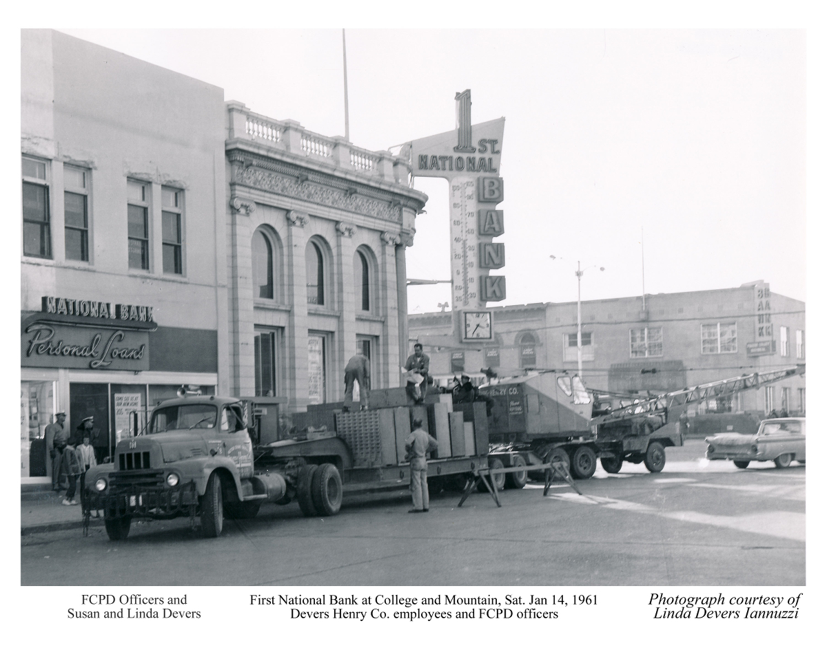 First National Bank moves to 205 W. Oak St. January 14, 1961