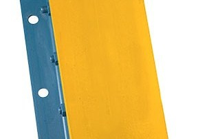 Steel face dock bumper with a yellow truck guide face