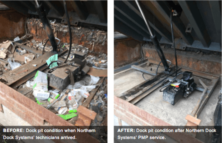 Before and after photos of dock pit cleaning by NDS PMP professionals