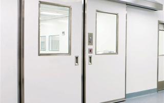 Model: 1260 powered bi-part sliding seamless molded fiberglass door