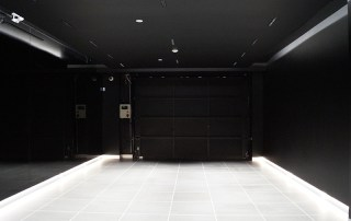 Polycarbonate door with custom blackout panels