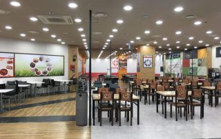 Food court with black JADE UV Air Purifier