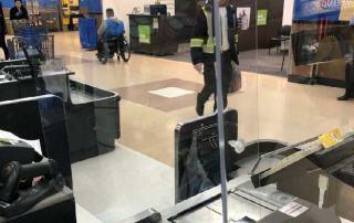 Customer plexiglass safety shield for cashiers