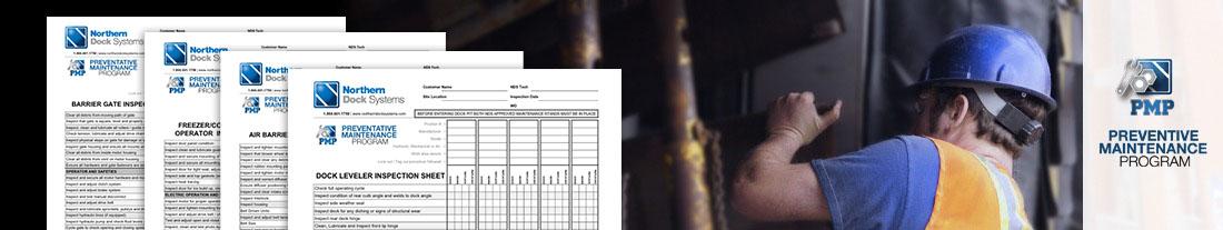 Preventive maintenance program with technician doing maintenance on a dock leveler and multipoint inspection sheets for dock leveler, air barriers, freezer doors, overhead doors, barrier gates