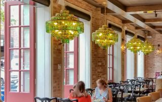 Architectural low profile air curtain restaurant patio doors