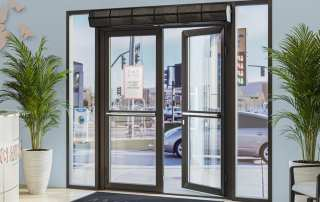 Commercial low profile air curtain doctor office entrance
