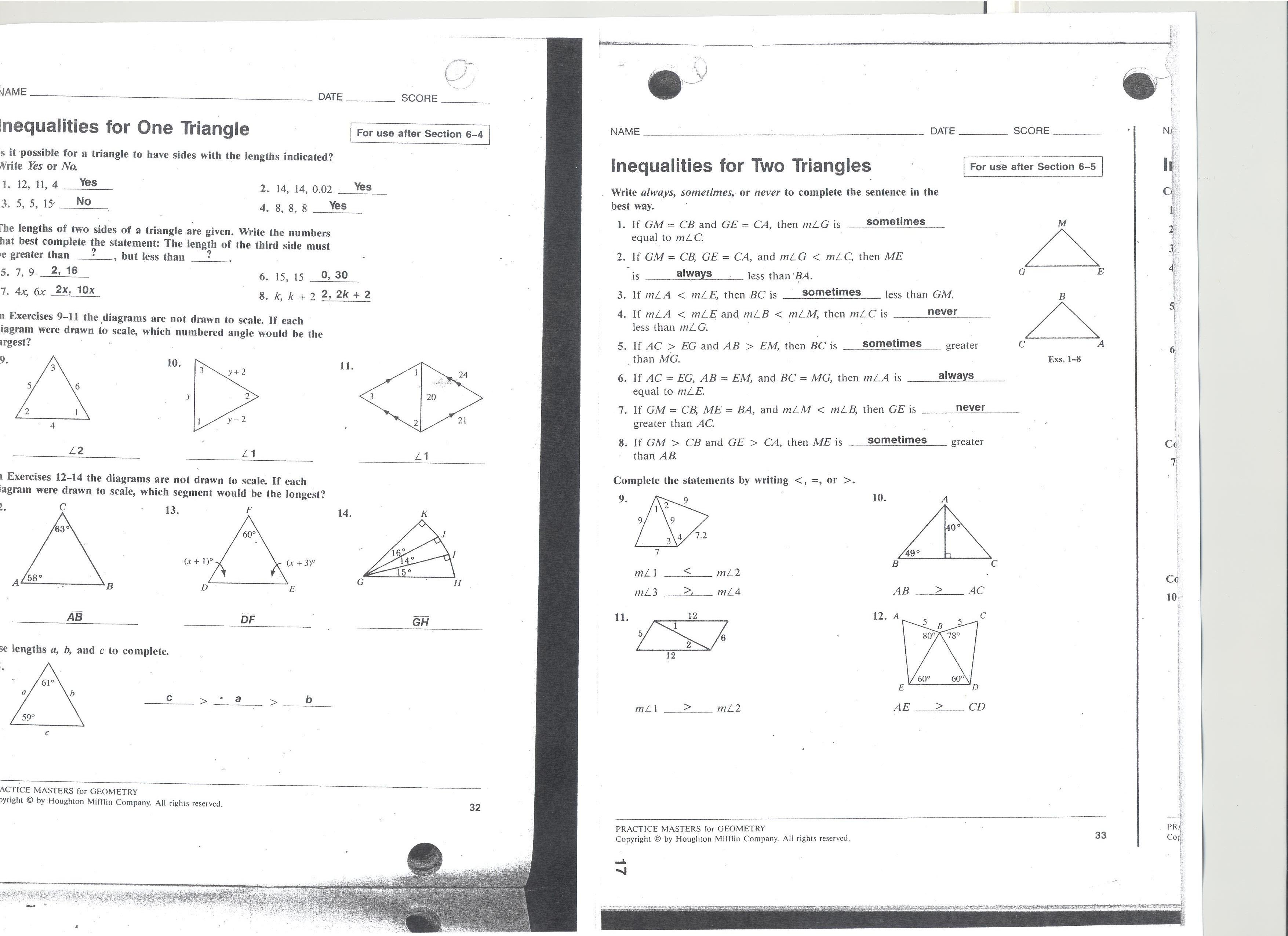 Geometry Triangle Congruence Worksheet Answer Key
