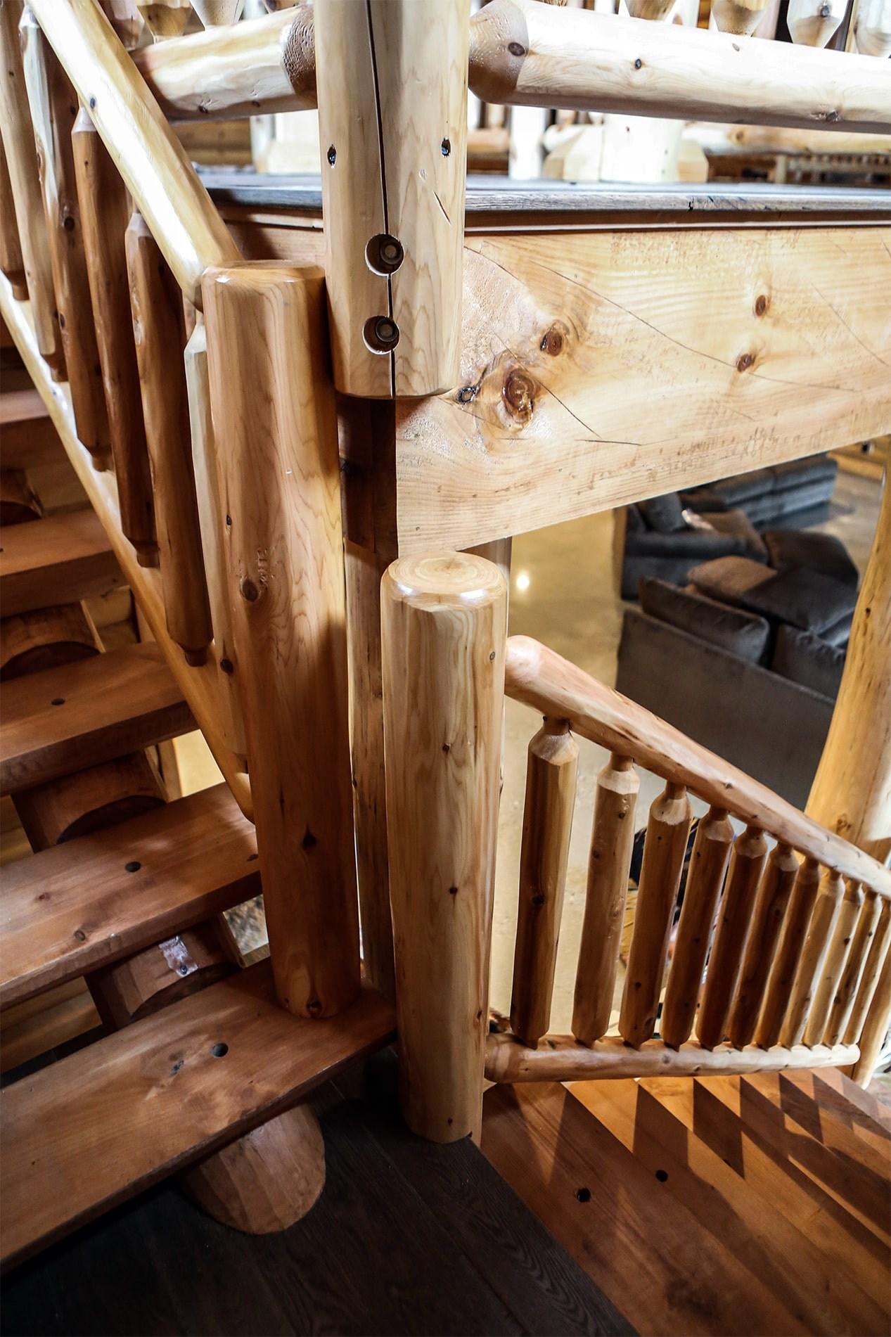 Cedar Log Railing Northern Log | Rustic Banisters And Railings | House | Pallet | Veranda | Farmhouse | Solid Wood