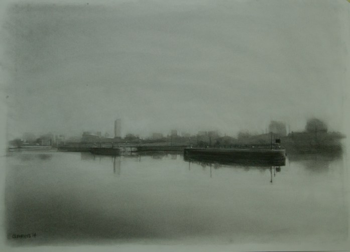 Charcoal cityscape drawing of Manchester by Christopher Clements