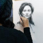 Student charcoal portrait drawing at Northern Realist