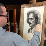 Northern Realist student work in progress, charcoal portrait by Anthony Sherratt