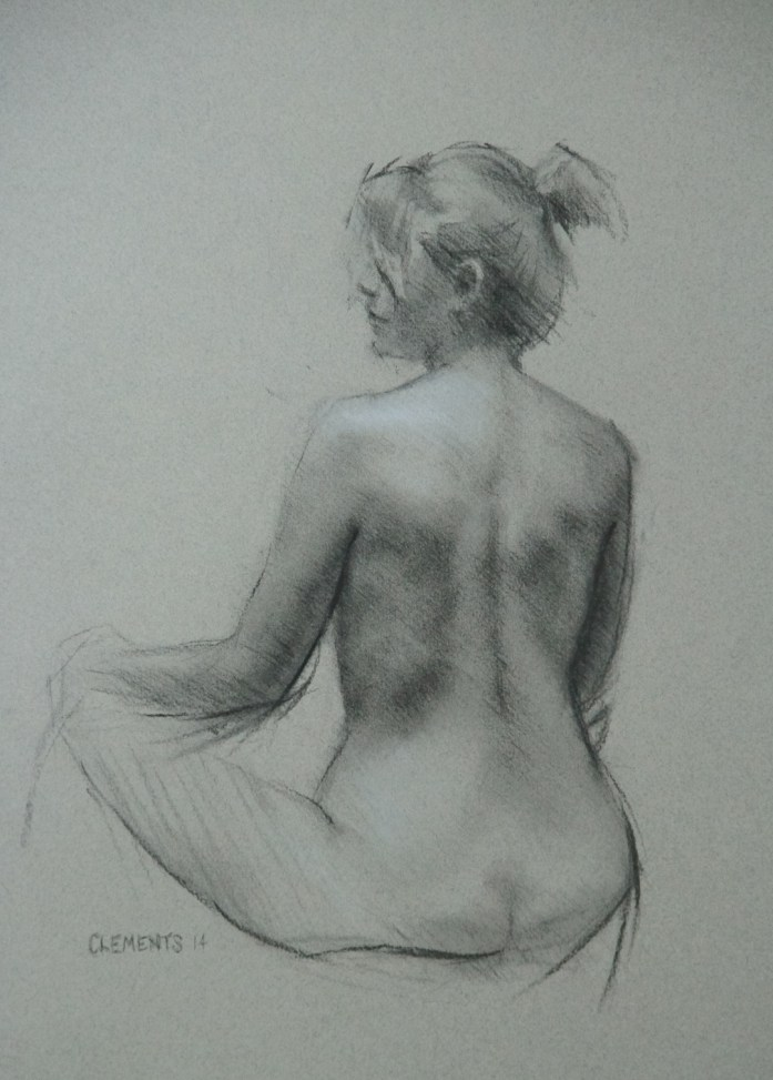 Seated Figure Drawing in charcoal and chalk by Christopher Clements