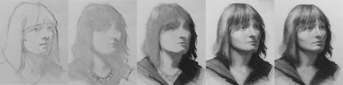 The stages involved in a portrait drawing using the Soft Approach by Christopher Clements