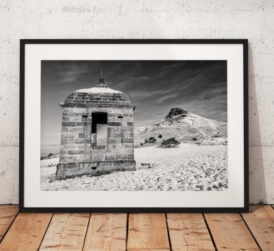 Landscape Photo of Roseberry Topping in the snow. North York Moors, England. Mounted print. Black and white, Mono, Wall Art, Home Decor