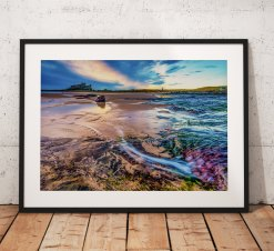 Northumberland Landscape Photography, Bamburgh Castle , Beach,  England. Landscape Photo. Mounted print. Wall Art.